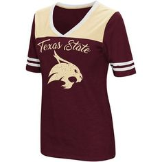Colosseum Athletics Women's Texas State University Twist 2.1 V-Neck T-shirt (Red Dark, Size Large) - NCAA Licensed Product, NCAA Women's at Academy...