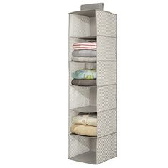 mDesign Chevron Fabric Hanging Closet Storage Organizer for Clothing Sweaters Shoes Accessories  6 Shelves TaupeNatural *** More info could be found at the image url.