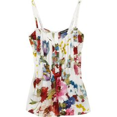 Dolce & Gabbana Floral-print silk-blend crepe de chine top ($695) ❤ liked on Polyvore