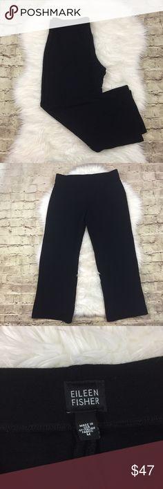 Eileen Fisher Straight Leg Pants Black knit (semi heavy) straight leg pants • in good preowned condition • Eileen Fisher Pants Straight Leg