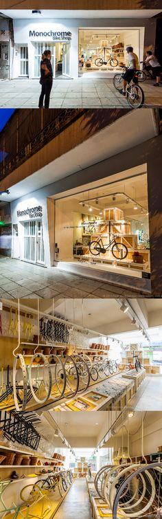 Monochrome bike shop - fantastic display & merchandising