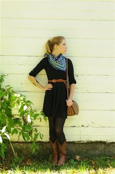 black dress, scarf, brown belt and  boots basically my favorite daily look