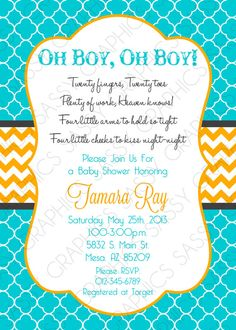 943 best baby shower invites images on pinterest in 2018 baby twin baby shower invitation baby boys its twins chevron turquoise blue orange oh baby its a boy diy printable invite pdf item 4 filmwisefo