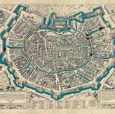 #bellamilano  #iosonoinavigli from @milano_citta_dacqua -  Questa mappa a volo d'uccello del 1573 è la sola che mostra i tre fossati difensivi: quello interno di epoca romana (le celebri cantarane) quello medievale della Fossa interna e infine quello delle mura spagnole. #acqua come elemento fondamentale anche per ragioni difensive! Questo è molto altro a #milanocittadacqua #palazzomorando #milano #architecture #architectureporn #maps #canals #navigli #milanonavigli #fossainterna… Lake Como, Old City, Milan, City Photo, Nostalgia, History, Pictures, Landscape, Live