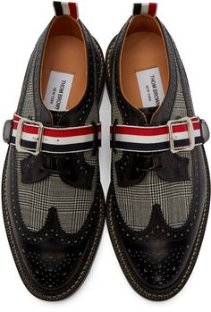 Thom Browne - Black Leather Prince of Wales Brogues Men's Shoes, Shoe Boots, Shoes Sneakers, Man Vs, Cool Style, Men's Style, Prince Of Wales, Classic Man, Thom Browne