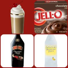 Baileys Chocolate Cherry Sundae Pudding Shots  1 small Pkg. chocolate instant pudding 3/4 Cup Milk  1/2 Cup Bailey's Chocolate Cherry Irish Cream 1/4 Cup Banana rum 8oz tub Cool Whip Directions 1. Whisk together the milk, liquor, and instant pudding mix in a bowl until combined. 2. Add cool whip a little at a time with whisk. 3 Spoon the pudding mixture into shot glasses, disposable shot cups or 1 or 2 ounce cups with lids. Place in freezer for at least 2 hours Pudding Shot Recipes, Jello Pudding Shots, Jello Shot Recipes, Alcohol Recipes, Jello Shots, Cake Shots, Dessert Shots, Bar Drinks, Yummy Drinks