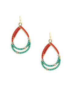 Look at this Gold & Turquoise Crystal Double Teardrop Earrings on #zulily today!