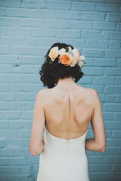 peach floral crown + short hair, photo by Chaz Cruz http://ruffledblog.com/modern-brooklyn-wedding #weddinghair #flowercrown