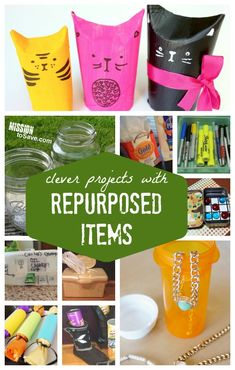 Clever Projects with Repurposed Items - Roundup of Recycling Projects - Mission: to Save It's fun to think of clever ways to repurpose items instead of sending them to the trash or recycling bins. These cre Diy Craft Projects, Craft Tutorials, Recycling Projects, Crafts For Kids, Diy Crafts, Craft Ideas, Family Crafts, Repurposed Items, Upcycled Crafts