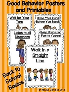CLASSROOM BEHAVIOR POSTERS AND PRINTABLES for establishing routines and expectations. This pack helps develop good playground behavior and ideal classroom behavior. The packet also gives examples of unacceptable classroom and school behavior.