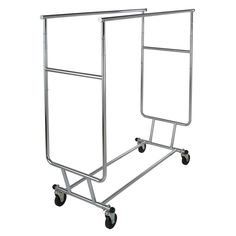 "Econoco's Commercial Grade, heavy duty, double hangrail rolling rack for clothing and garments is collapsible for easy set up and storage. Made of industrial round tubing steel. It is perfect addition for your home storage and organization project or clothing store display! This collapsible rolling rack has a chrome finish making it stylish while remaining incredibly durable. Made of steel, the collapsible rolling rack is adjustable in height at 55"", 60"" and 65"". The clothing rack commercial…"