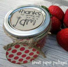 Strawberry jam as a gift with printable tags  like this one the best w/info on how she made printable tags