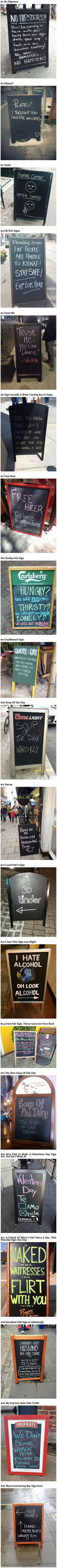 Here are some funny and geeky chalkboard signs that think outside the box.: