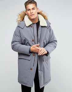 ASOS Parka Jacket With Borg Collar In Grey at ASOS. Shop this season's must haves with multiple delivery and return options (Ts&Cs apply). Asos, Winter Jackets, Winter Coats, Canada Goose Jackets, Vogue, Grey, Fur, Shopping, Fashion