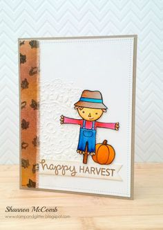 Lawn Fawn - Happy Harvest, Stitched Borders _ beautiful Fall design by Shannon via Flickr