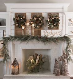 White tree branches in bucket with lights looks so pretty in the fireplace Christmas Love, Christmas Wreaths, Christmas Holidays, Christmas Decorations, Christmas Ornaments, Holiday Decor, Farmhouse, Diy, Ideas