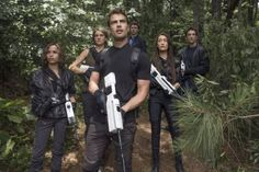 Still of Maggie Q, Shailene Woodley, Miles Teller, Zoë Kravitz, Theo James and Ansel Elgort in The Divergent Series: Allegiant - Part 1 (2016)