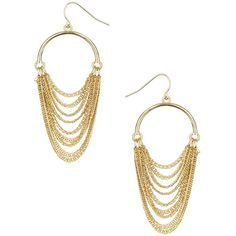 Dorothy Perkins Half Hoop Chain Drop Earring ($7.39) ❤ liked on Polyvore featuring jewelry, earrings, gold, gold earrings, pandora jewelry, diamond earrings, hoop earrings and gold hoop earrings