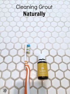 The best way to clean grout naturally. Using only baking soda, water, and Young Living Lemon essential oil- you will get the cleanest grout ever! on dreambookdesign.com