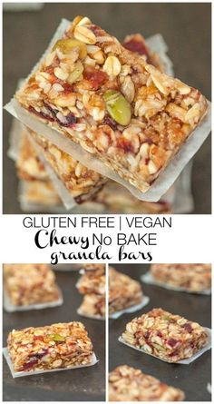 Chewy No Bake Granola Bars A bar which is chock full of nuts, dried fruit, oats and very low in sugar Vegan, gluten free and better than store bought! is part of Homemade granola bars healthy - No Bake Granola Bars, Homemade Granola Bars, Vegan Granola Bars, Healthy Bars, Healthy Treats, Vegan Protein Bars, Protein Snacks, High Protein, Vegan Gluten Free