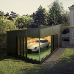 want car and garage. Designed and installed by Ecospace this is the new contemporary way to safely garage your car by taking the concept of an ordinary domestic garage and transforming it – into a stunning show space at home. Design Garage, Exterior Design, Sustainable Architecture, Interior Architecture, Cool Garages, Prefab Garages, Garage House, Car Garage, Garage Room