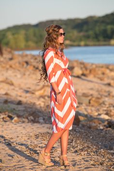 """Is it summer yet? :) Modest swimwear by Dainty Jewell's"""" the Coral Chevron swimdress. Modest fashion for sun, wind, and waves! Works great as a cover-up; high-quality lycra dries out super quick! Shop www.daintyjewells.com"""