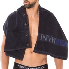 Emporio Armani Sauna Beach Towel Skirt Men's Snap Sponge Bathrobe Navy #EmporioArmani