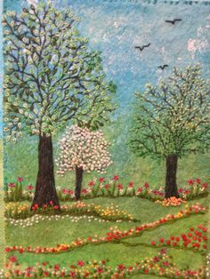 embroidered trees and garden