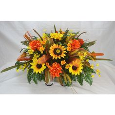 No.f009 Sun Flower Fall Cemetery Arrangement Headstone Saddle Grave... ($43) ❤ liked on Polyvore featuring home, home decor, floral decor, black, home & living, artificial flower stems, silk arrangements, black home decor, flower arrangement and silk flower arrangement