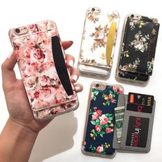 Limited Quantities Available Functional and pretty, the Wallet Phone case can conveniently hold your money, ID & cards! Wallet flap is held closed with a hidden magnet. Beautiful florals decorate your