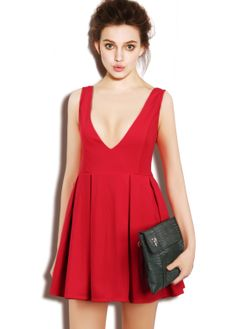 #PRESALE: Red Contrast Lace Backless Pleated Dress #Sheinside
