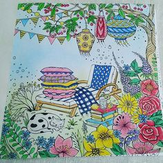 My first picture from Mein Sommerspaziergang by Rita Berman. Done as a coloralong with dear colouring friends @verena_muehlschlegel and @fisch.steffi. It was a lot of fun colouring with you, girls ♥#rita.berman #meinsommerspaziergang #adultcolouringbook #meinsommerspaziergangcoloralong #divasdasartes #coloringmasterpiece #artecomoterapia #colorirtop #coloring_repost #fangcolourfulworld