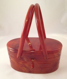 50's Vintage Lucite / Celluloid Box Purse Like Bakelite - Llewellyn Style