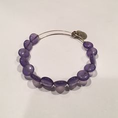 Alex and Ani beaded bangle Purple with silver band, great condition Alex & Ani Jewelry Bracelets