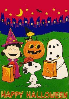 Charlie Brown as a Ghose, Lucy as a Witch, Snoopy as a Pirate and Woodstock as a Witch With Woodstock Sitting on a Jack-o-Lantern - Happy Halloween Spooky Halloween Pictures, Halloween Coloring Pictures, Halloween Art, Holidays Halloween, Vintage Halloween, Happy Halloween, Snoopy Halloween, Charlie Brown Halloween, Charlie Brown Und Snoopy