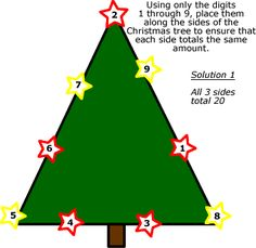 Fun and Festive Christmas Math Worksheets: Christmas Tree Stumper Solution 1 (Solution 2 next)