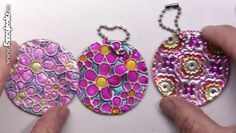Pictutorial on using foil to create pendants. Arts And Crafts Projects, Decor Crafts, Diy And Crafts, Crafts For Kids, Diy Jewelry, Jewelery, Recycled Crafts, Art For Kids, Yogurt