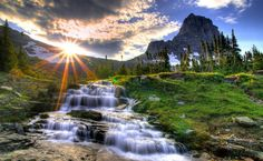Small waterfall in the morning HD Wallpaper