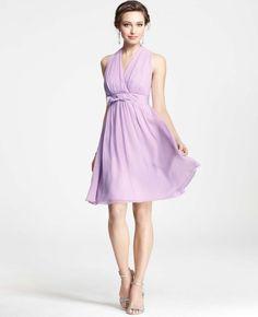 Silk Georgette Grosgrain Bow Halter Dress