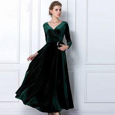 Grün formale Samt Maxi-Kleid, Abend Party-Kleid, Kleider, Maxi dress | eBay