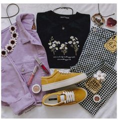 Teen Fashion Outfits, Retro Outfits, Cute Casual Outfits, Vintage Outfits, Summer Outfits, Yellow Outfits, Yellow Shoes, Aesthetic Fashion, Aesthetic Clothes