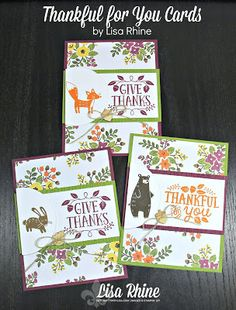 Get Crafty with Lisa:  SNEAK PEEK:  Thankful for You.  These cards feature Stampin' Up!'s Thankful Forest Friends Stamp Set and Into the Woods Designer Series Paper, by Lisa Rhine, www.getcraftywithlisa.com
