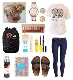 """""""Cute school spring day outfit"""" by agrava ❤ liked on Polyvore featuring Levi's, Birkenstock, The North Face, Maybelline, L'Oréal Paris, Marc Jacobs, Bloomingdale's, Yves Saint Laurent and Urban Decay"""