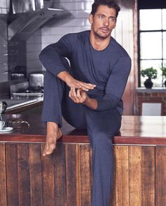 Buy the Modal Blend Pyjama Top from Marks and Spencer's range. David Gandy Style, David James Gandy, Men's Underwear, Famous Male Models, Androgynous Models, Look Man, Barefoot Men, Gorgeous Men, Beautiful