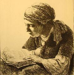 Lezende vrouw - Rembrandt van Rijn (Dutch, 1606-1669) Baroque