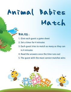 Animal Babies Match Baby Shower Game