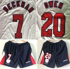 63ab51b6b85 England national football team Umbro Home 7#Beckham 20#Owen 9#Shearer 1998  FIFA World Cup Shirt Trikot Maglia Camiseta De Fútbol classic rare retro  vintage ...