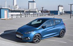 Lataa kuva Ford Fiesta ST, 4k, farmari, 2018 autoja, kompakti autoja, sininen Fiesta, Ford