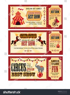 Circus tickets design with tent, circus horses monkey on bike and elephant template circus elements, tickets set circus ticket templates red and yellow with animals ticket set Ticket Template Free, Templates Printable Free, Carnival Birthday Invitations, Elephant Template, Carnival Tickets, Ticket Design, Ticket Invitation, Journal Stickers, Vintage Circus