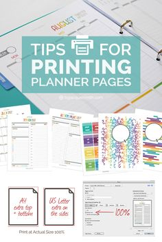 A popular question that comes up when creating your perfect planner is about printing planner pages. I want to share with you my tips, tricks + design secrets so you can enjoy this part of setting up your planner. Free Planner, Planner Pages, Printable Planner, Happy Planner, Planner Stickers, Planner Ideas, Printables, Work Planner, Family Planner